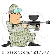 Clipart Of A Kneeling Paintball Man In Camouflage Royalty Free Illustration