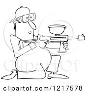 Clipart Of An Outlined Kneeling Paintball Man Royalty Free Vector Illustration by djart