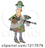 Clipart Of A Paintball Man Covered In Colorful Splats Royalty Free Illustration by djart