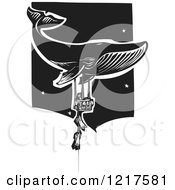 Clipart Of A Woodcut Whale And Children Holding Onto A Balloon Basket In Black And White Royalty Free Vector Illustration by xunantunich
