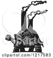 Clipart Of A Woodcut Tortoise Carrying Smokestacks In Black And White Royalty Free Vector Illustration