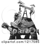 Clipart Of A Woodcut Tortoise With A Oil Pump In Black And White Royalty Free Vector Illustration