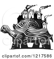 Clipart Of A Woodcut Tortoise Carrying Houses In Black And White Royalty Free Vector Illustration
