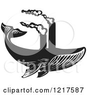 Clipart Of A Woodcut Whale Swimming With Smokestacks In Black And White Royalty Free Vector Illustration