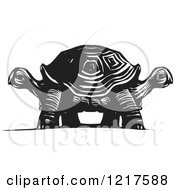 Clipart Of A Woodcut Double Headed Tortoise In Black And White Royalty Free Vector Illustration