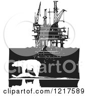 Clipart Of A Woodcut Polar Bear And Oil Rig Platform In Black And White Royalty Free Vector Illustration