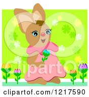 Clipart Of A Happy Rabbit Picking Tulip Flowers Royalty Free Vector Illustration by bpearth