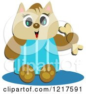 Clipart of a Happy Cat Holding a Bone - Royalty Free Vector Illustration by bpearth #COLLC1217591-0062