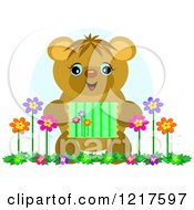 Happy Bear Holding A Picture With Flowers