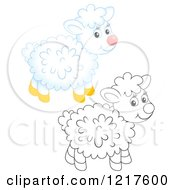 Clipart Of A Cute Airbrushed And Outlined Sheep Royalty Free Illustration