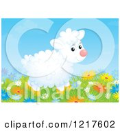 Clipart Of A Cute Sheep In A Meadow Of Flowers Royalty Free Illustration