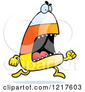 Clipart Of A Running Candy Corn Monster Royalty Free Vector Illustration