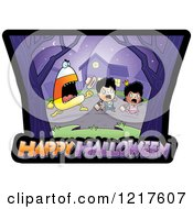 Clipart Of A Candy Corn Monster Chasing Trick Or Treaters Over Happy Halloween Text Royalty Free Vector Illustration