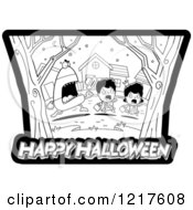 Clipart Of A Black And White Candy Corn Monster Chasing Trick Or Treaters Over Happy Halloween Text Royalty Free Vector Illustration