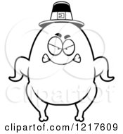 Clipart Of A Black And White Mad Pilgrim Turkey Character Royalty Free Vector Illustration by Cory Thoman