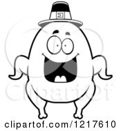 Clipart Of A Black And White Happy Grinning Pilgrim Turkey Character Royalty Free Vector Illustration by Cory Thoman
