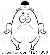 Clipart Of A Black And White Depressed Pilgrim Turkey Character Royalty Free Vector Illustration