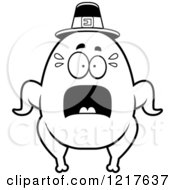 Clipart Of A Black And White Scared Pilgrim Turkey Character Royalty Free Vector Illustration