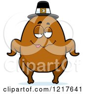 Clipart Of A Drunk Pilgrim Turkey Character Royalty Free Vector Illustration