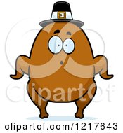 Clipart Of A Surprised Pilgrim Turkey Character Royalty Free Vector Illustration
