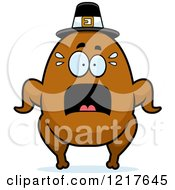 Clipart Of A Scared Pilgrim Turkey Character Royalty Free Vector Illustration