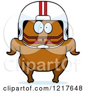 Clipart Of A Surprised Football Turkey Character Royalty Free Vector Illustration