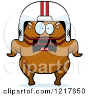 Clipart Of A Scared Football Turkey Character Royalty Free Vector Illustration