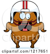 Clipart Of A Crazy Football Turkey Character Royalty Free Vector Illustration