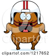 Clipart Of A Happy Grinning Football Turkey Character Royalty Free Vector Illustration