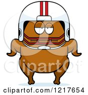 Clipart Of A Bored Football Turkey Character Royalty Free Vector Illustration