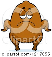 Clipart Of A Depressed Turkey Character Royalty Free Vector Illustration
