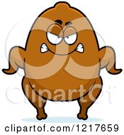 Clipart Of A Mad Turkey Character Royalty Free Vector Illustration