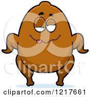 Clipart Of A Drunk Turkey Character Royalty Free Vector Illustration