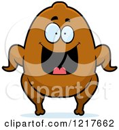 Clipart Of A Happy Grinning Turkey Character Royalty Free Vector Illustration