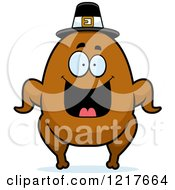 Clipart Of A Happy Grinning Pilgrim Turkey Character Royalty Free Vector Illustration