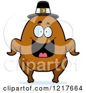 Happy Grinning Pilgrim Turkey Character