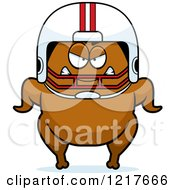 Clipart Of A Mad Football Turkey Character Royalty Free Vector Illustration
