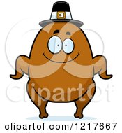 Clipart Of A Happy Pilgrim Turkey Character Royalty Free Vector Illustration by Cory Thoman