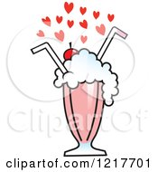 Hearts Over A Strawberry Milkshake With Two Straws