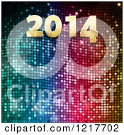 Clipart Of A Golden New Year 2014 Over Colorful Mosasic Royalty Free Vector Illustration
