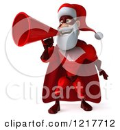 Clipart Of A 3d Super Hero Santa Using A Megaphone 2 Royalty Free Illustration
