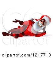 3d Super Hero Santa Resting On His Side And Shrugging