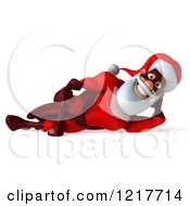 3d Super Hero Santa Resting On His Side