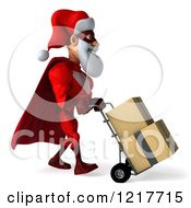Clipart Of A 3d Super Hero Santa Moving Boxes On A Dolly 2 Royalty Free Illustration