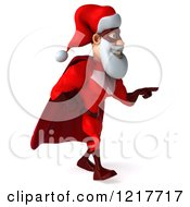 3d Super Hero Santa Walking And Pointing