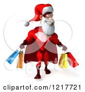 Clipart Of A 3d Super Hero Santa Carrying Shopping Bags Royalty Free Illustration
