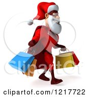Clipart Of A 3d Super Hero Santa Carrying Shopping Bags 2 Royalty Free Illustration