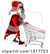 Clipart Of A 3d Super Hero Santa Pushing A Shopping Cart 2 Royalty Free Illustration
