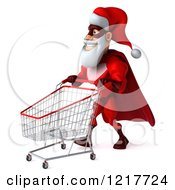 Clipart Of A 3d Super Hero Santa Pushing A Shopping Cart Royalty Free Illustration