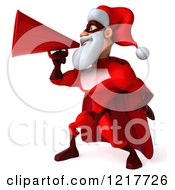 Clipart Of A 3d Super Hero Santa Using A Megaphone Royalty Free Illustration